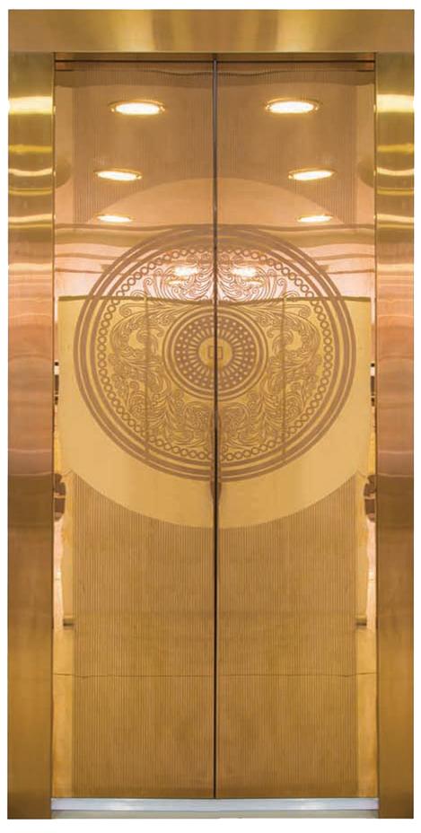 ستانلس ستيل أبواب برونز (رسمة الشمس)